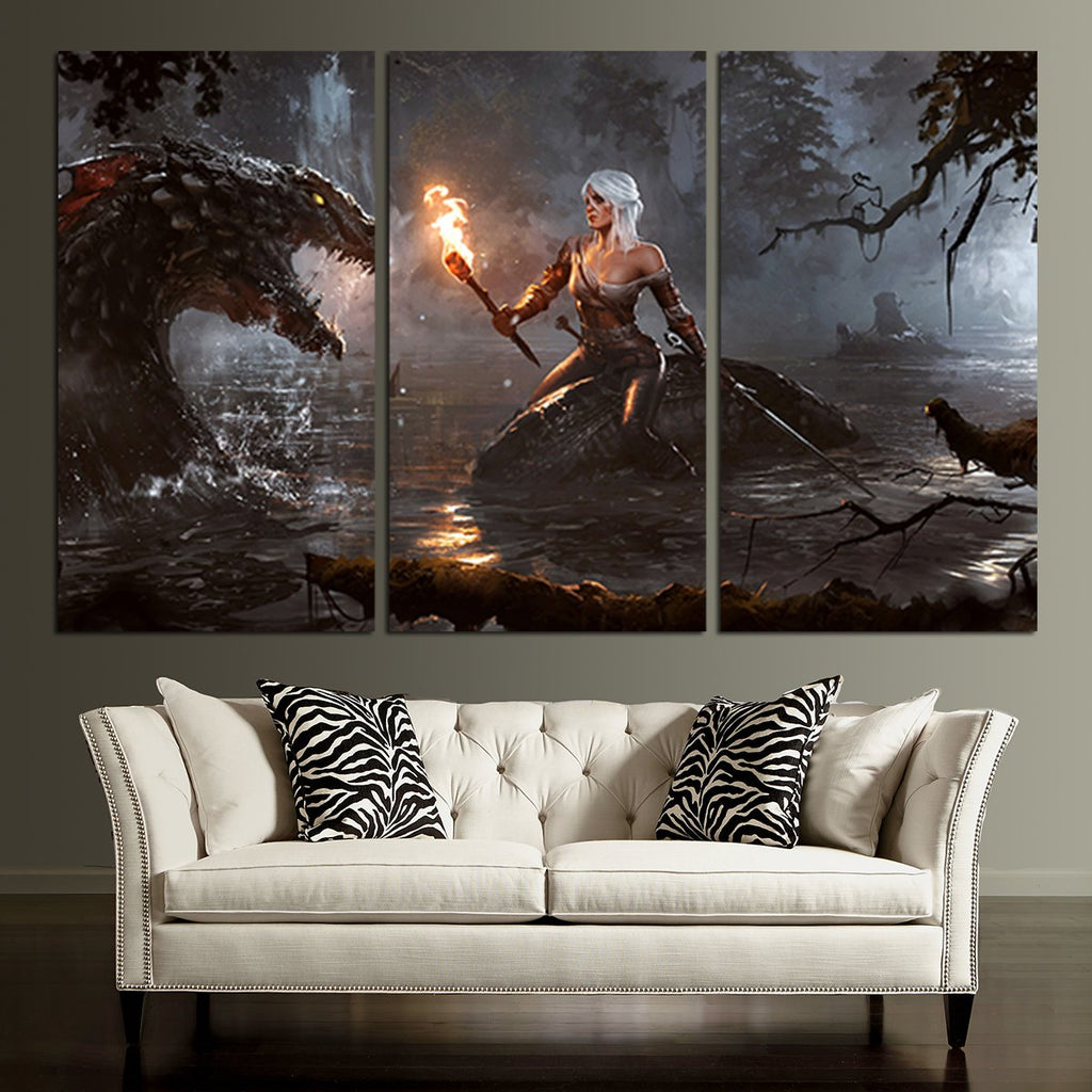 Superbe ... 3 Panel The Witcher Ciri And Dragon Wall Art Canvas