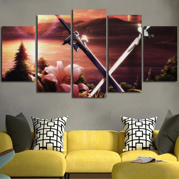 5 Panel Sword Art Online 2 Background Wall Art Canvas