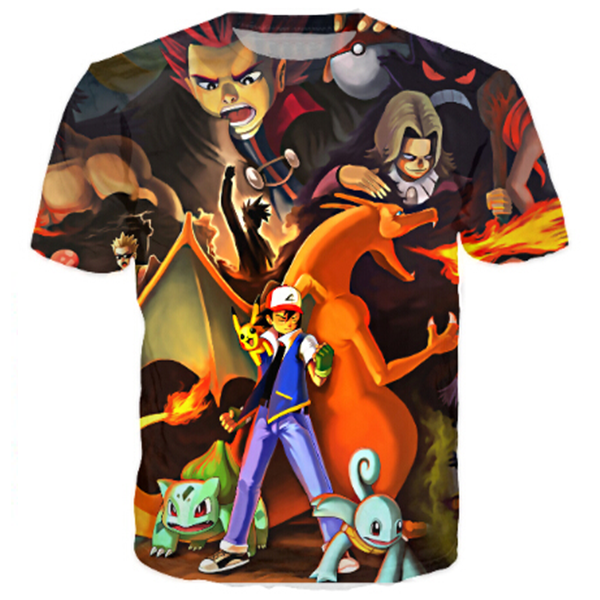 Cartoon Pokemon Printed Shirts