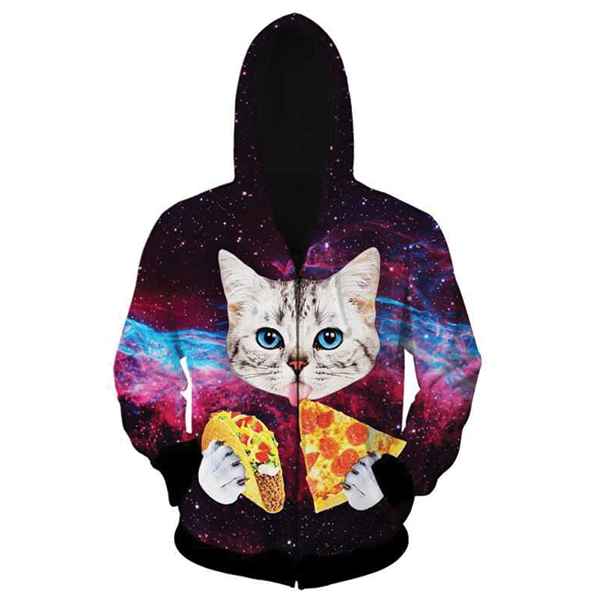 Galaxy Pizza Cat 3D Printed Shirts