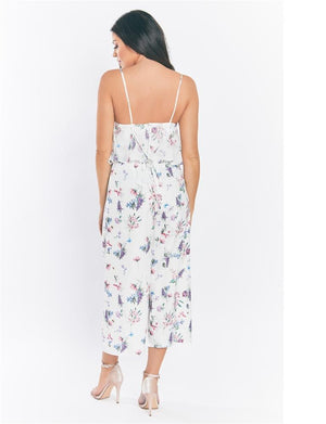 Multi Calita floral chiffon jumpsuit with frill top and cross back straps