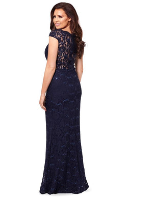 Petite Eliora Navy Lace Maxi Dress