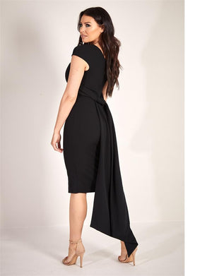 Amal black midi dress