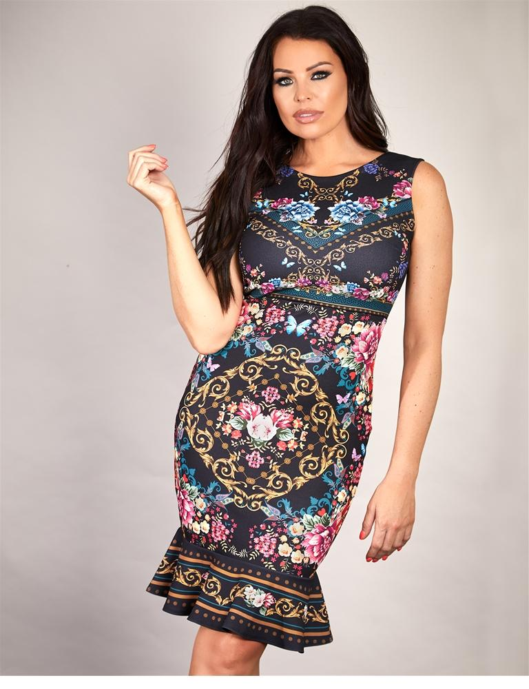 Thea floral stretch bodycon midi dress
