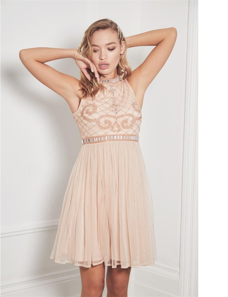Debbianna nude embroided midi dress