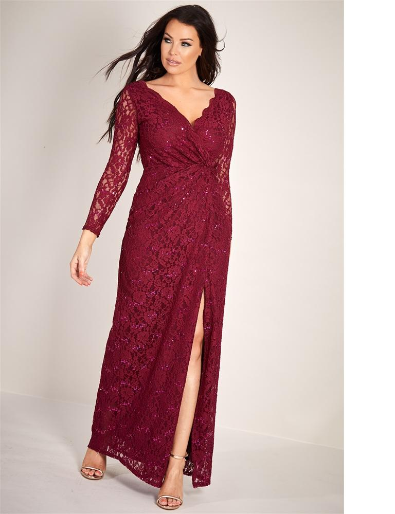 Neille sequin lace wrap long sleeve dress