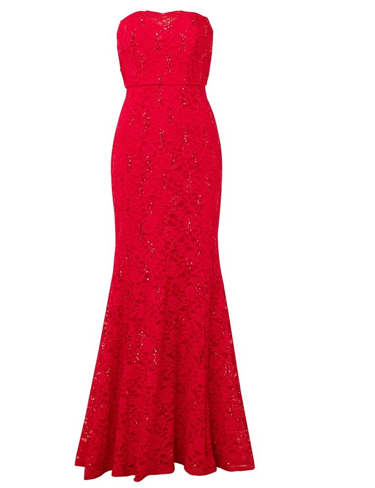 Olivieta red bandeau sequin lace bridal fish tail maxi dress