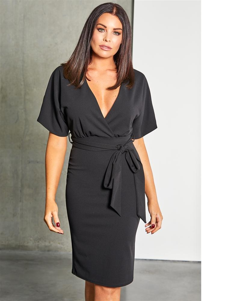 Harris bodycon wrap neckline dress