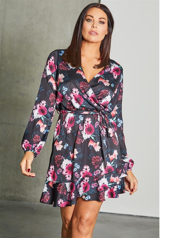 Rachely multi floral print wrap dress