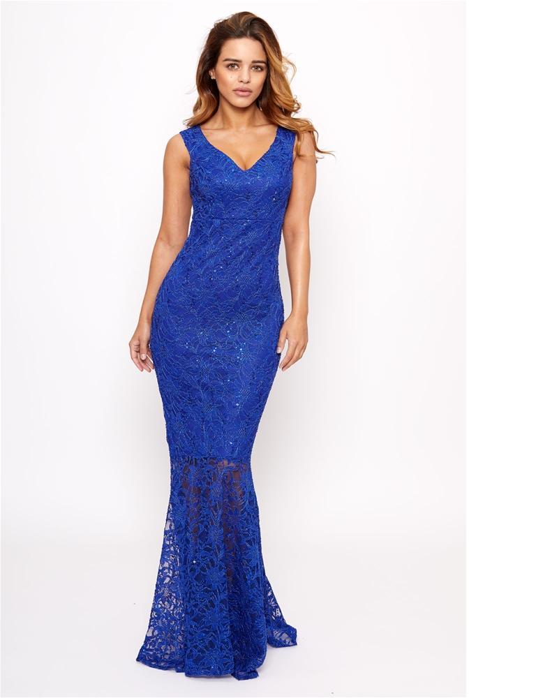 Lulia sequin lace maxi dress with fish tail