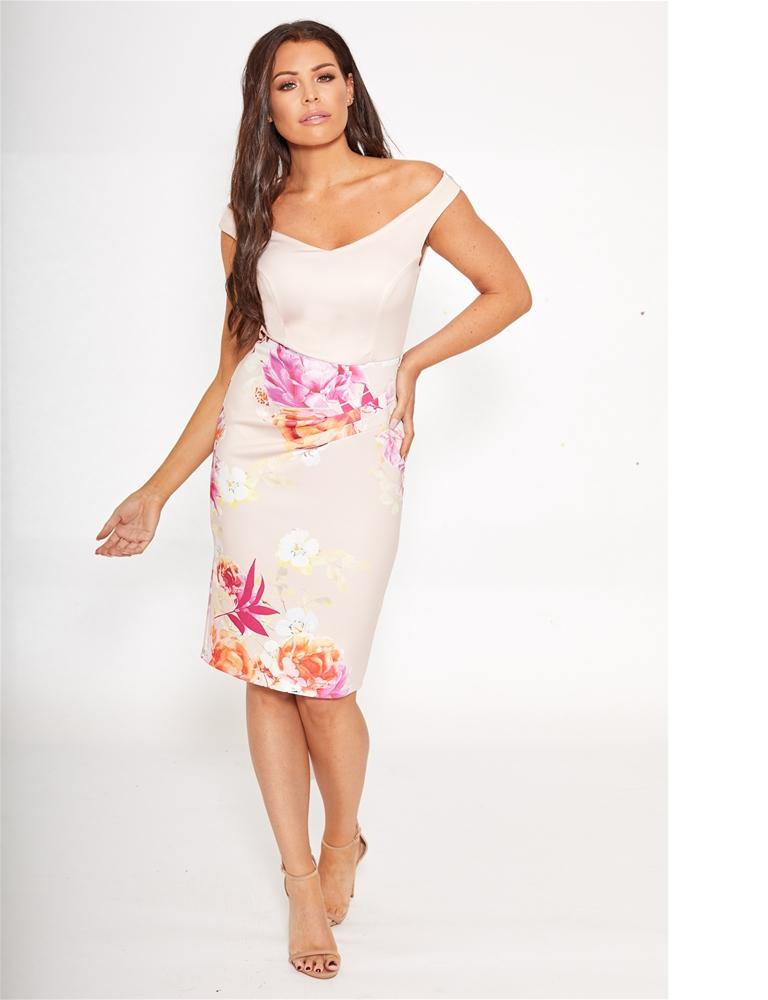 Hermione multi floral bardot bodycon midi dress