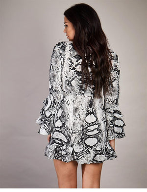 Eriza snake print wrap mini dress