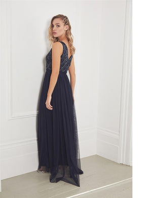 Noelle embroidered chiffon skirt maxi dress