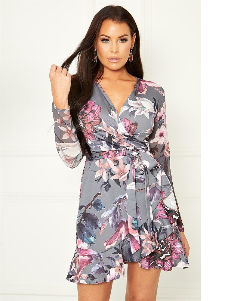 Aeesha floral print wrap dress