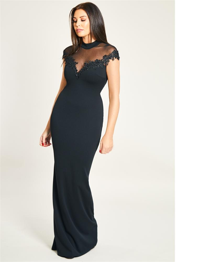 Bria Black Mesh Maxi Dress