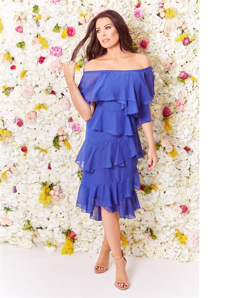 Anjel frilled midi dress