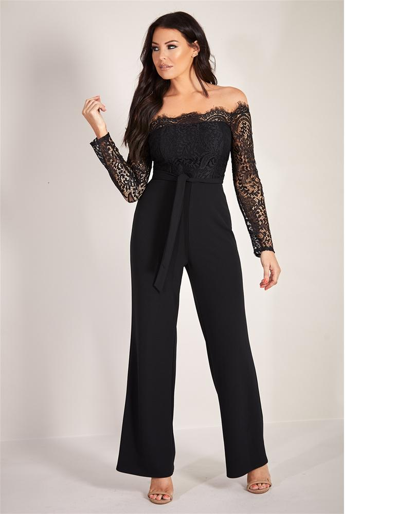 Davena eyelash trim jumpsuit