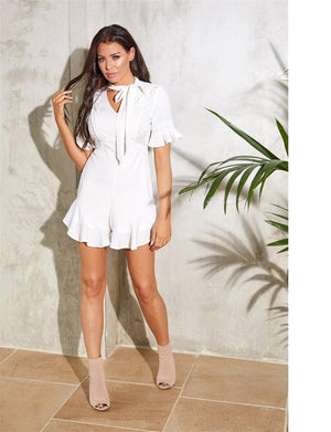 Darlene white playsuit short sleeve with trims