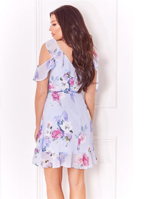 Isadora multi v neck cold shoulder frill floral dress
