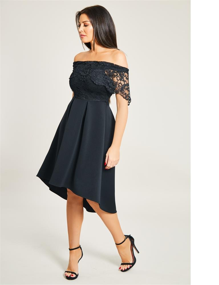 Liah Black Lace Bodice Bardot High Low Skater Dress