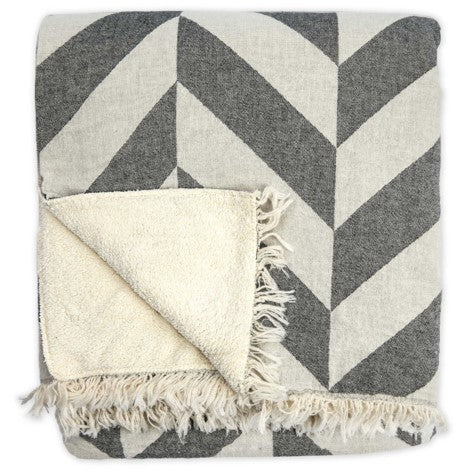 Turkish Cotton Fleece Lined Throws- Large Chevron -Various Colours