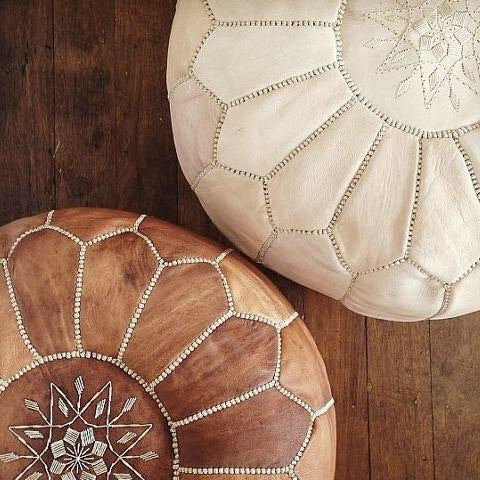 Leather Pouf - Sandstorm (un-oiled)
