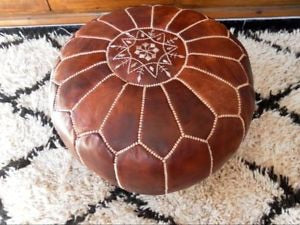 Leather Pouf - Burnt Honey