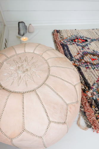 Leather Pouf - Natural (un oiled)