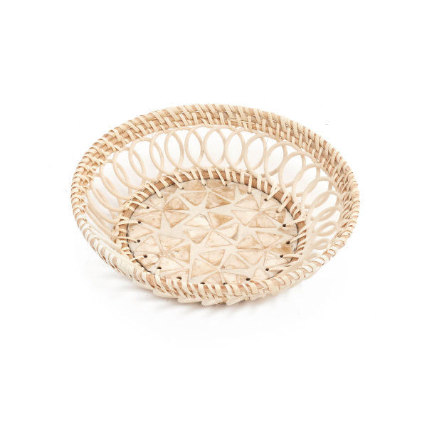 Rattan Tray with Shell