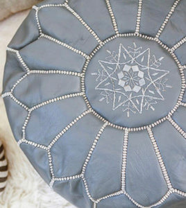 Leather Pouf - Stone