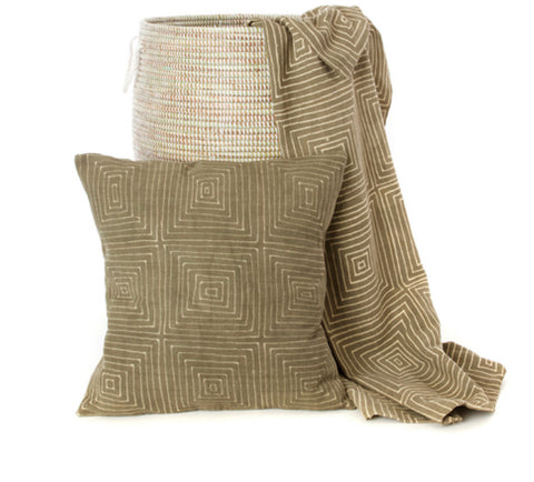 Segou Squares  Organic Cotton Mudcloth Throw from Mali