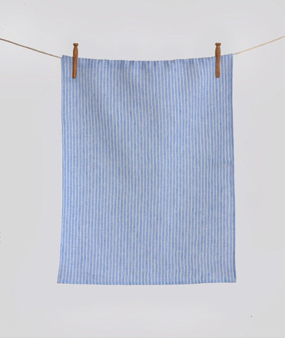 Amilia  Striped Tea Towel~ White with Blue