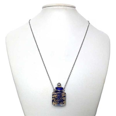 Aromatherapy Bottle Necklace~ Blue Venetian