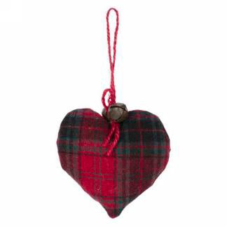 Ornament~ red plaid heart