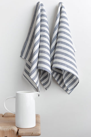 Sandy Striped Tea Towel~ White with Blue