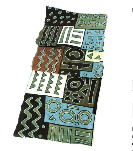 African Blue and Green Bogolan Festival Throw Blanket