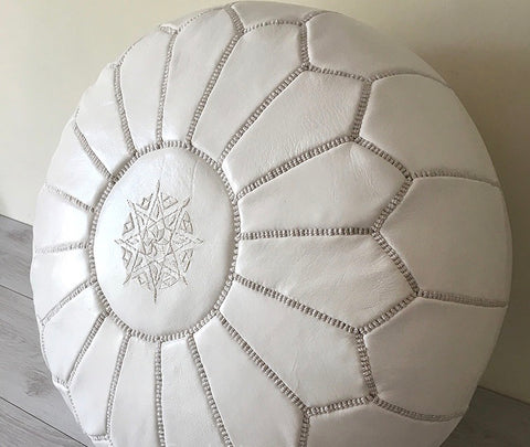 Leather Pouf - White