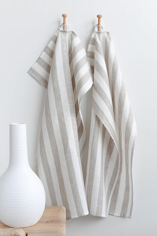Sandy Striped Tea Towel~ White with Beige