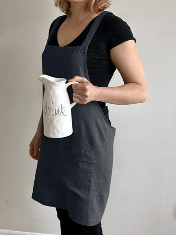 Linen Apron~ Catalina Dark Navy