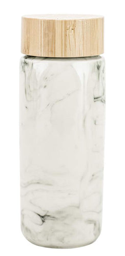 Double Walled Travel Tumbler~ Marble w Bamboo Lid