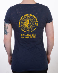 "Ladies ""Follow Me to the Beer"" Burnout T-Shirt"