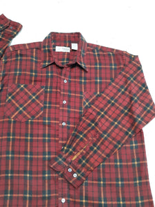 Mens Haband Long Sleeved Button Up Flannel Shirt L Large