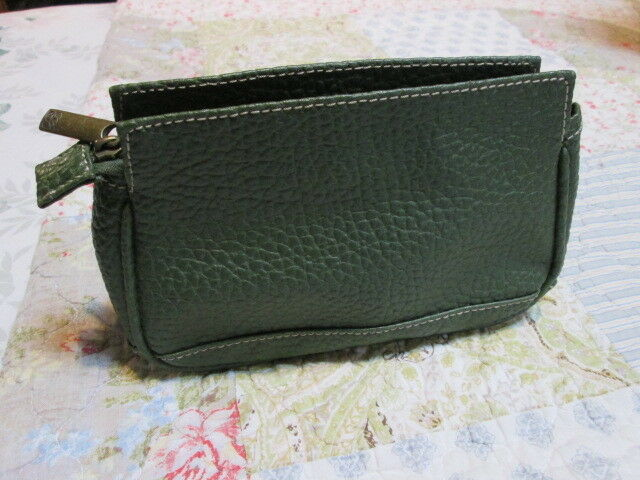 Womens Small Zip Up Handbag Cosmetic Make-up Purse Estee Lauder Green