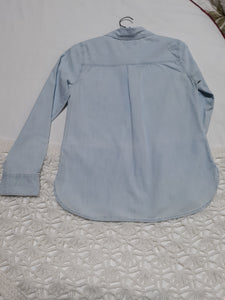 Womens Old Navy Long Sleeve Blouse S/P Small Blue Jean
