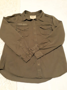 Womens Long Sleeve Collared Blouse Size Large L