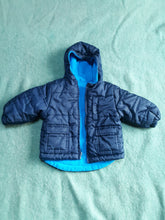 Boys Childrens Infant Fleece Lined Coat w. Hood 12 M Blue