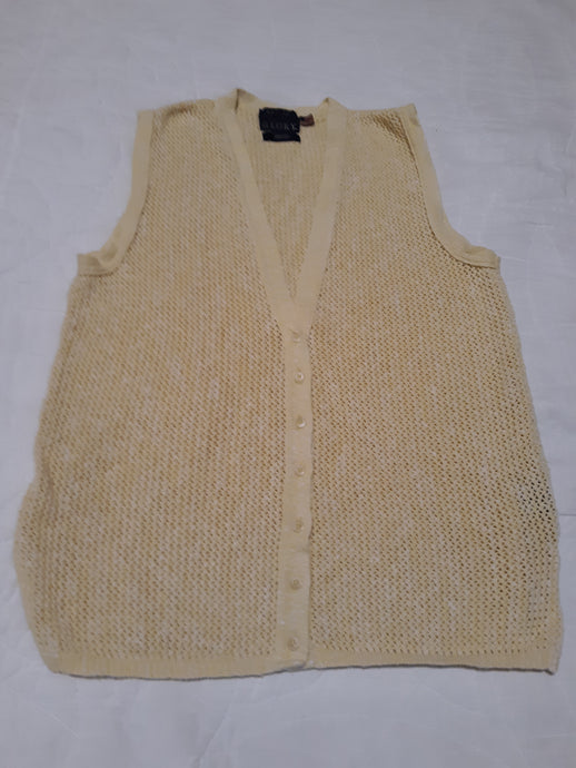 Womens Crocheted Knitted Style Vest Blouse Size M Beautiful Button Up 100 % Cotton Yellow