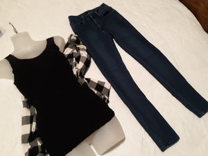 Womens 3 PC Set Size Small Blouse & Just Black Jeans 25 Tank & Long Sleeve Collared Blouse