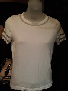 Womens Blouse Size Small Stretchy Soft Sheer Sleeve