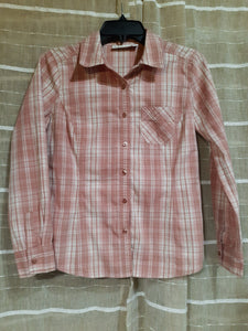 Womens Long Sleeve Button Up Blouse PM Petite Medium